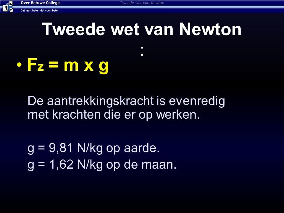 F z = m x g De aantrekkingskracht is evenredig met krachten die er op werken. g = 9,81 N/kg op aarde. g = 1,62 N/kg op de maan. Tweede wet van newton