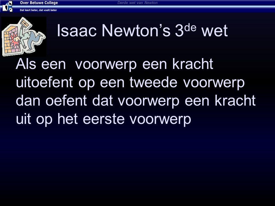 Isaac Newton's 3 de wet Als een voorwerp een kracht uitoefent op een tweede voorwerp dan oefent dat voorwerp een kracht uit op het eerste voorwerp Der