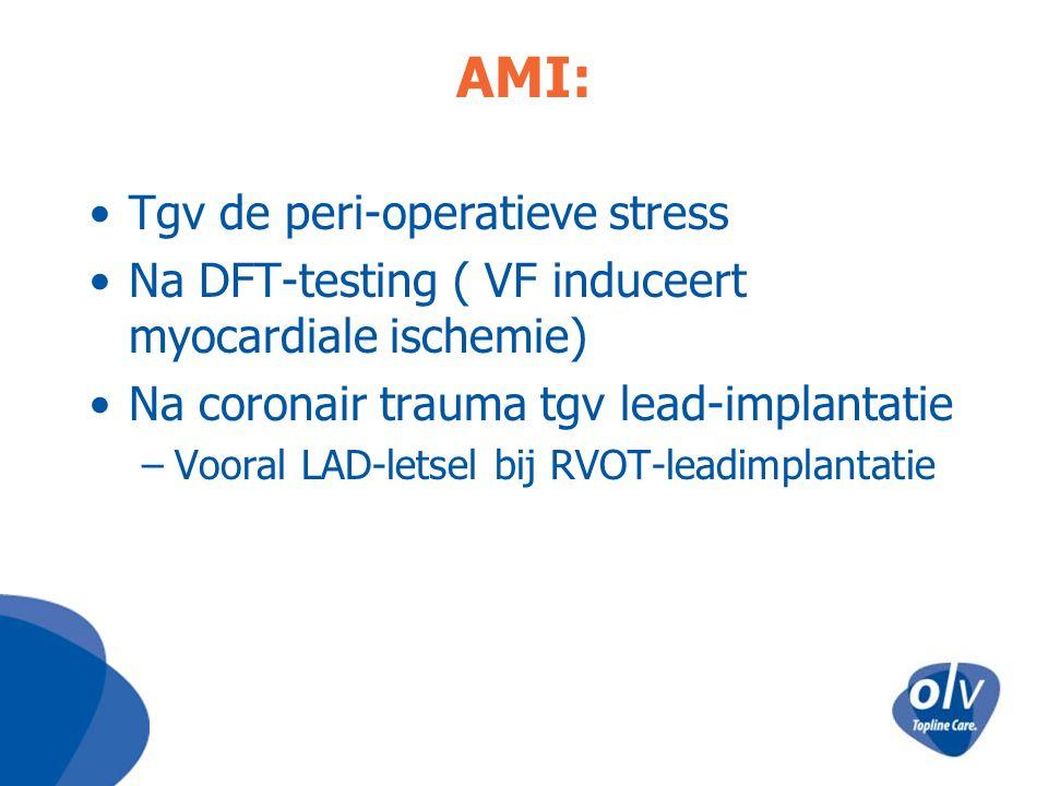 AMI: Tgv de peri-operatieve stress Na DFT-testing ( VF induceert myocardiale ischemie) Na coronair trauma tgv lead-implantatie –Vooral LAD-letsel bij
