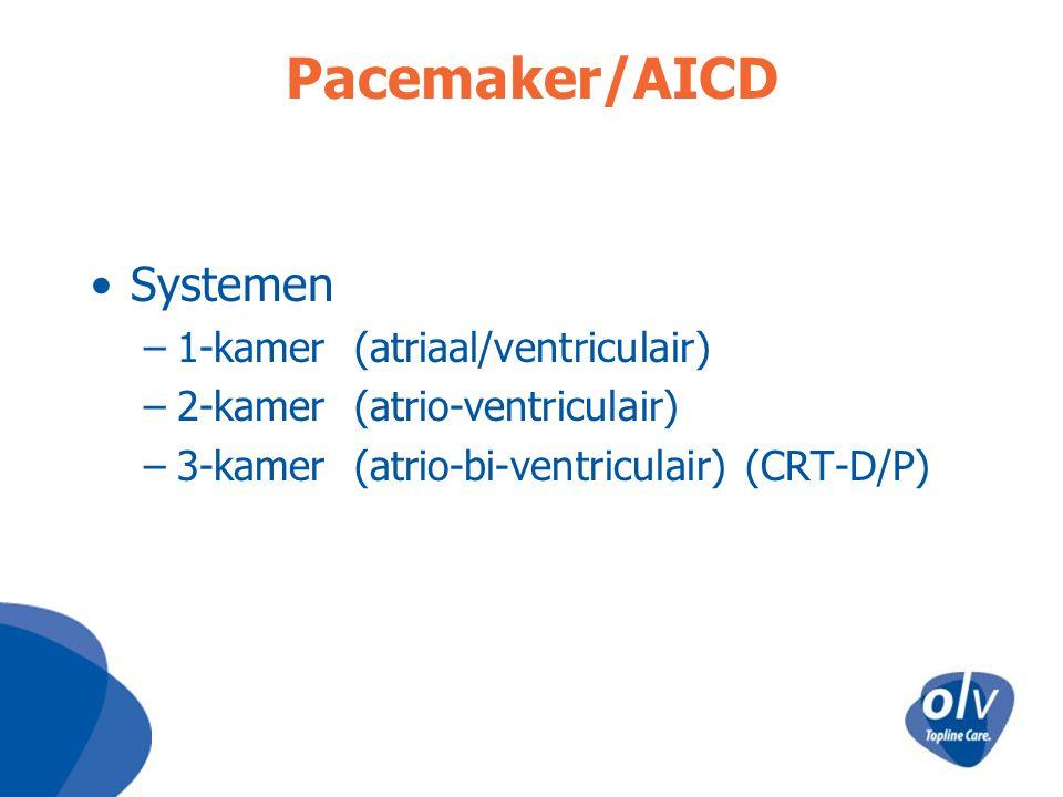 Pacemaker/AICD Systemen –1-kamer (atriaal/ventriculair) –2-kamer (atrio-ventriculair) –3-kamer (atrio-bi-ventriculair) (CRT-D/P)