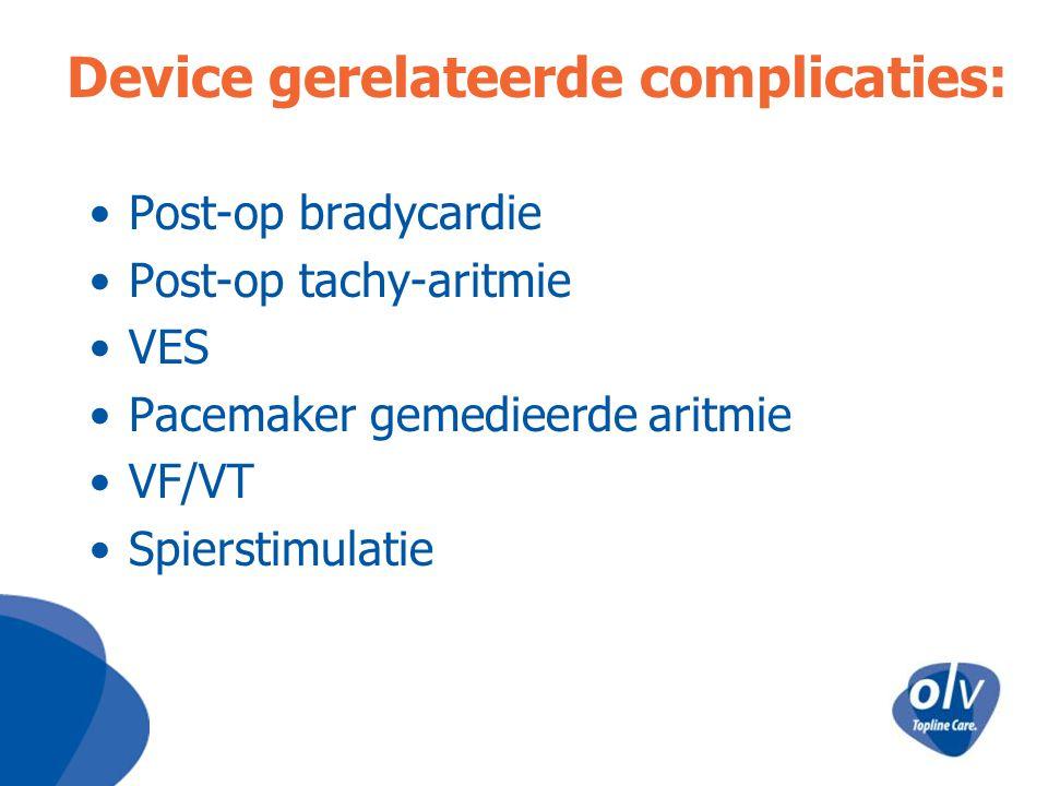 Device gerelateerde complicaties: Post-op bradycardie Post-op tachy-aritmie VES Pacemaker gemedieerde aritmie VF/VT Spierstimulatie