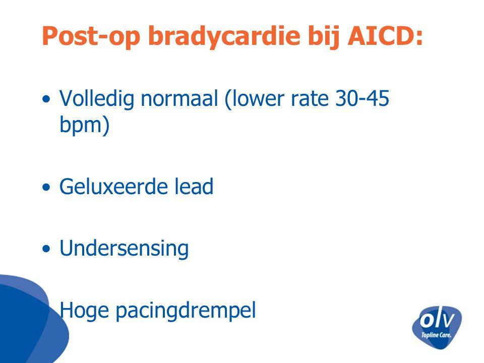Post-op bradycardie bij AICD: Volledig normaal (lower rate 30-45 bpm) Geluxeerde lead Undersensing Hoge pacingdrempel