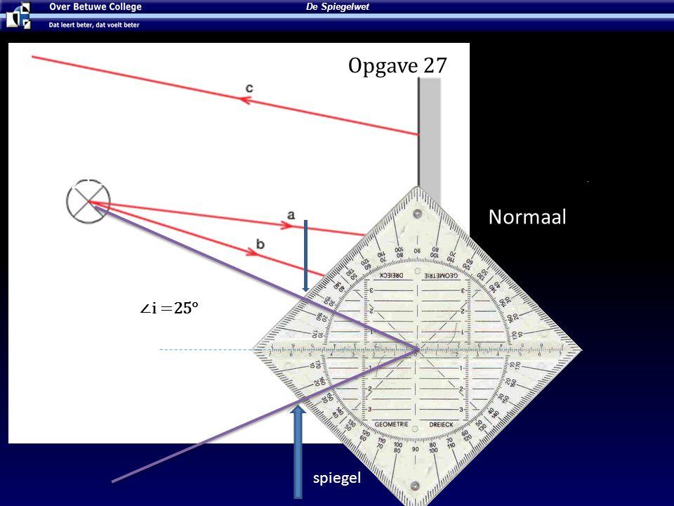 De Spiegelwet spiegel Lees de ∠i Normaal ∠t = 36° ∠i = 36° ∠i =25° Opgave 27