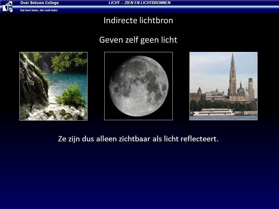 LICHT – ZIEN EN LICHTBRONNEN Indirecte lichtbron Geven zelf geen licht Ze zijn dus alleen zichtbaar als licht reflecteert.