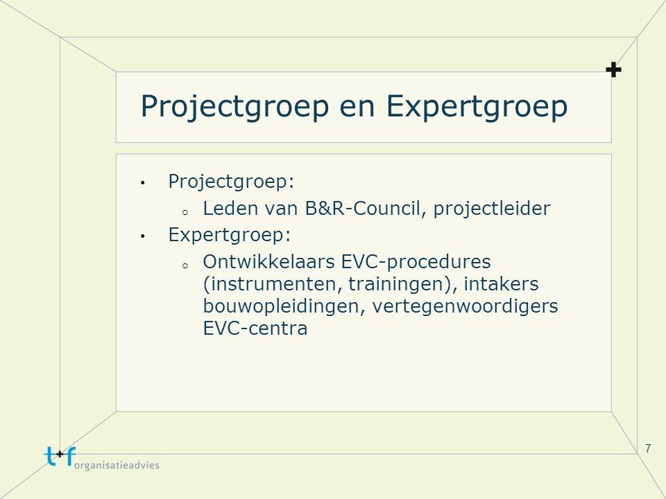 7 Projectgroep en Expertgroep Projectgroep: o Leden van B&R-Council, projectleider Expertgroep: o Ontwikkelaars EVC-procedures (instrumenten, trainingen), intakers bouwopleidingen, vertegenwoordigers EVC-centra