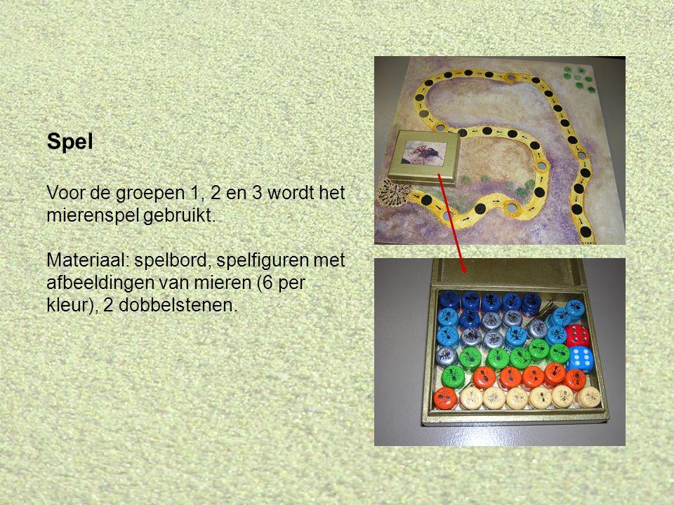 Spel Voor de groepen 1, 2 en 3 wordt het mierenspel gebruikt. Materiaal: spelbord, spelfiguren met afbeeldingen van mieren (6 per kleur), 2 dobbelsten