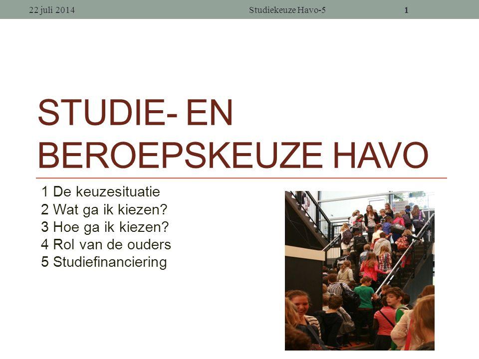 11 STUDIE- EN BEROEPSKEUZE HAVO 1 De keuzesituatie 2 Wat ga ik kiezen.