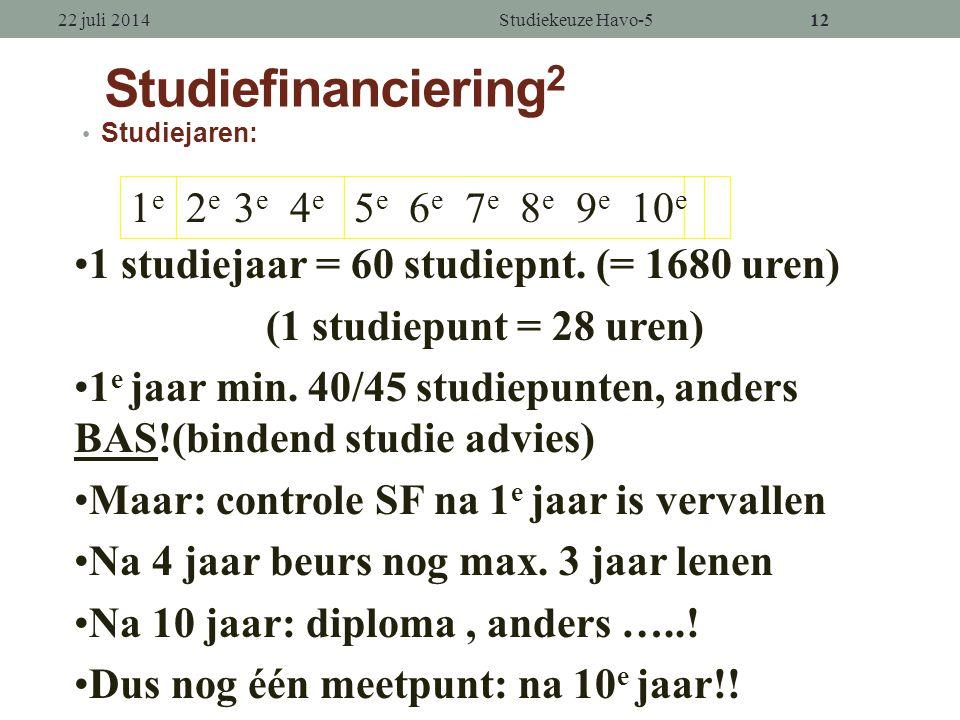 11 Studiefinanciering 1 Voor wie Hoger Onderwijs (HBO + WO) Wat.