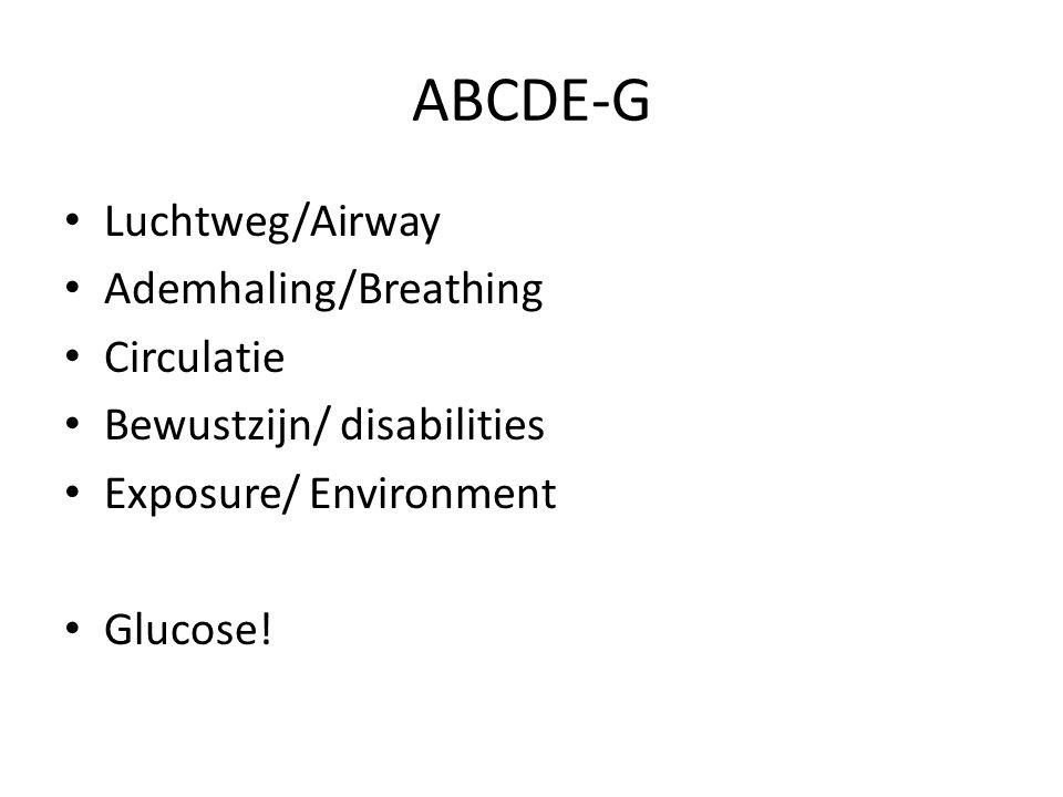 ABCDE-G Luchtweg/Airway Ademhaling/Breathing Circulatie Bewustzijn/ disabilities Exposure/ Environment Glucose!