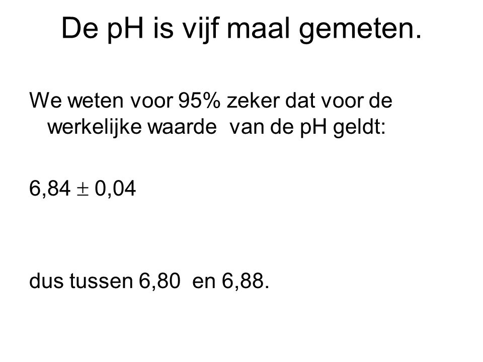 De pH is vijf maal gemeten.