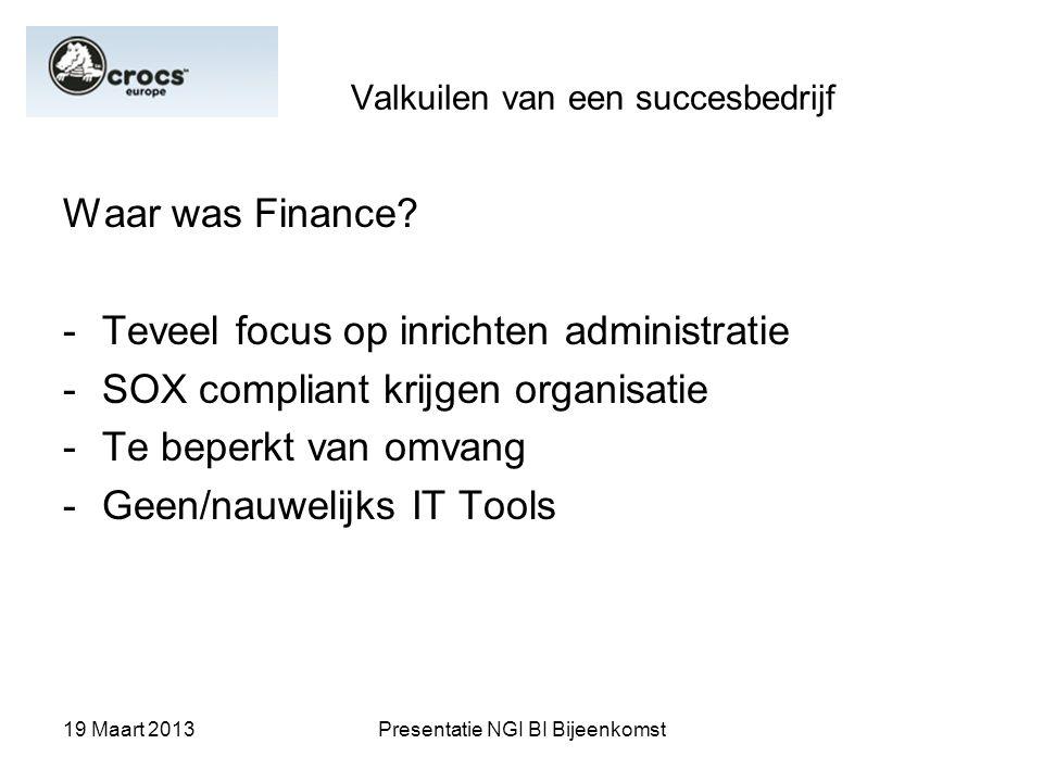 19 Maart 2013Presentatie NGI BI Bijeenkomst Valkuilen van een succesbedrijf Waar was Finance? -Teveel focus op inrichten administratie -SOX compliant