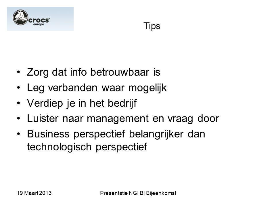 19 Maart 2013Presentatie NGI BI Bijeenkomst Tips Zorg dat info betrouwbaar is Leg verbanden waar mogelijk Verdiep je in het bedrijf Luister naar manag