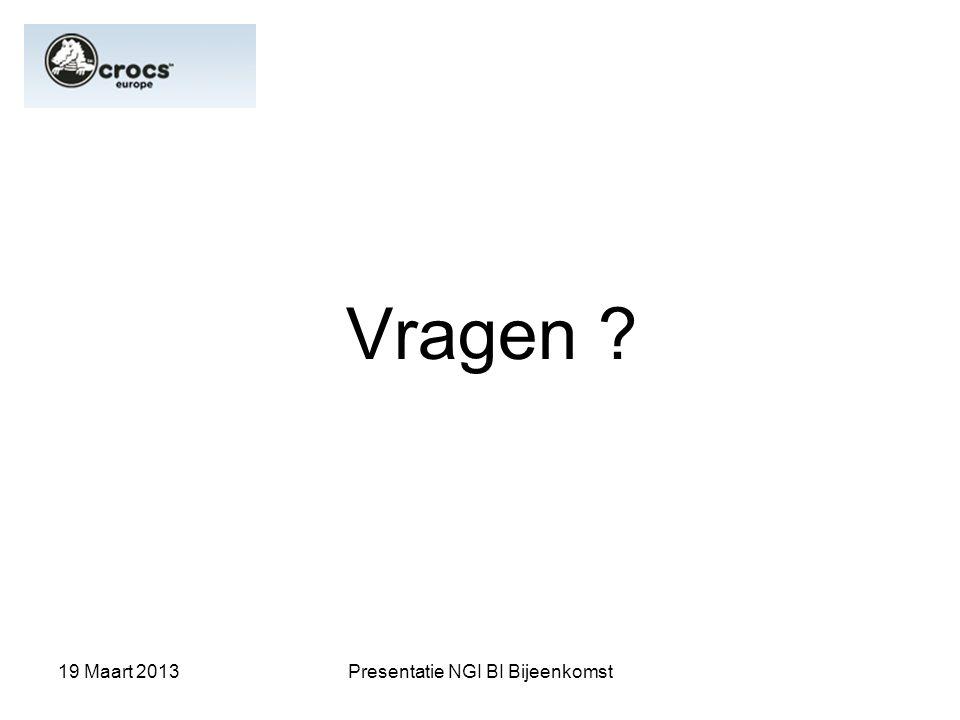 19 Maart 2013Presentatie NGI BI Bijeenkomst Vragen ?