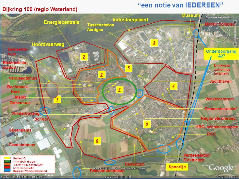 Energiecentrale Industriegebied Museum Onderdoorgang A27 Verpleegtehuis Glastuinbouw Dijkring 100 (regio Waterland) 3 1 2 6 5 7 4 8 9 Dierentuin Winke