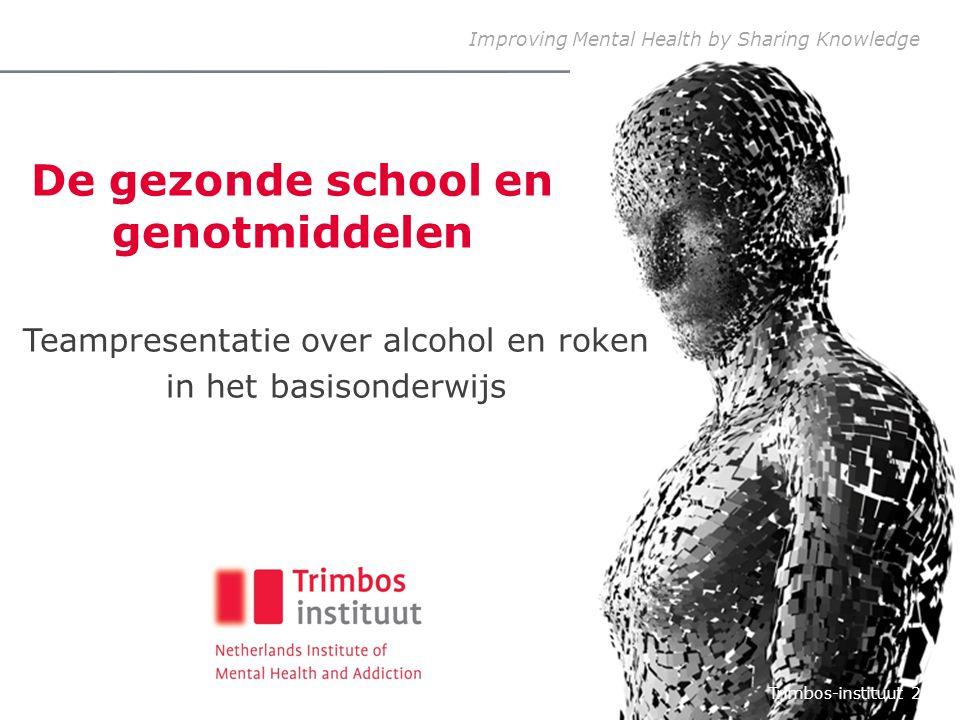 Improving Mental Health by Sharing Knowledge De gezonde school en genotmiddelen Teampresentatie over alcohol en roken in het basisonderwijs Trimbos-in