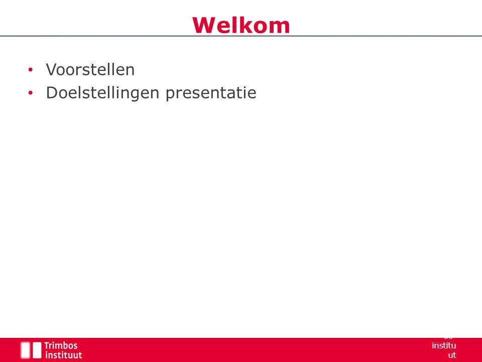 Voorstellen Doelstellingen presentatie Welkom Trimb os- institu ut 2006 3