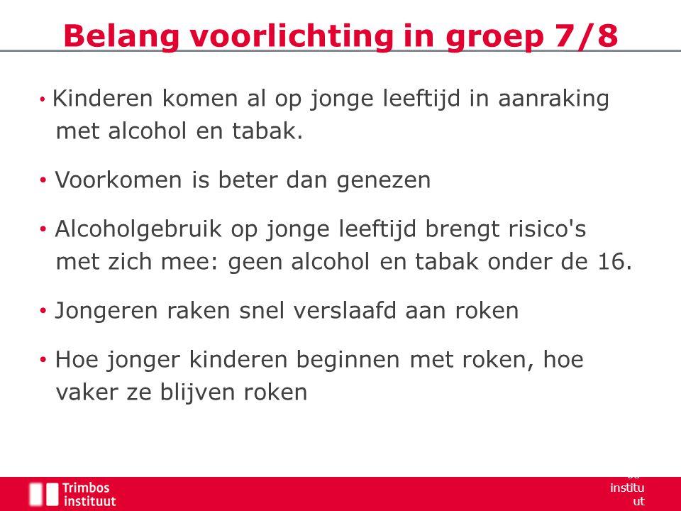 Kinderen komen al op jonge leeftijd in aanraking met alcohol en tabak. Voorkomen is beter dan genezen Alcoholgebruik op jonge leeftijd brengt risico's