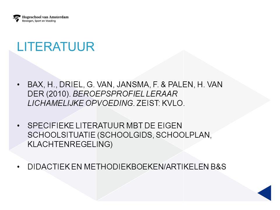LITERATUUR BAX, H., DRIEL, G. VAN, JANSMA, F. & PALEN, H. VAN DER (2010). BEROEPSPROFIEL LERAAR LICHAMELIJKE OPVOEDING. ZEIST: KVLO. SPECIFIEKE LITERA