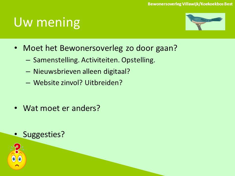 Uw mening Bewonersoverleg Villawijk/Koekoekbos Best Moet het Bewonersoverleg zo door gaan.
