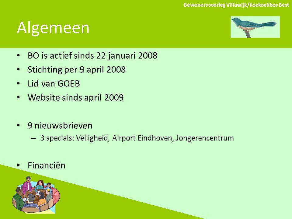 Algemeen BO is actief sinds 22 januari 2008 Stichting per 9 april 2008 Lid van GOEB Website sinds april 2009 9 nieuwsbrieven – 3 specials: Veiligheid, Airport Eindhoven, Jongerencentrum Financiën Bewonersoverleg Villawijk/Koekoekbos Best