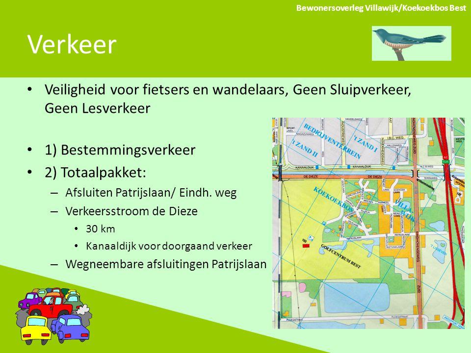 Verkeer Bewonersoverleg Villawijk/Koekoekbos Best Veiligheid voor fietsers en wandelaars, Geen Sluipverkeer, Geen Lesverkeer 1) Bestemmingsverkeer 2) Totaalpakket: – Afsluiten Patrijslaan/ Eindh.