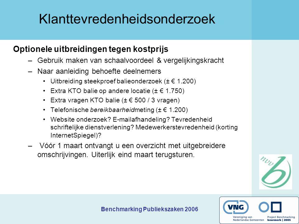 Benchmarking Publiekszaken 2006 Klanttevredenheidsonderzoek Optionele uitbreidingen tegen kostprijs –Gebruik maken van schaalvoordeel & vergelijkingsk