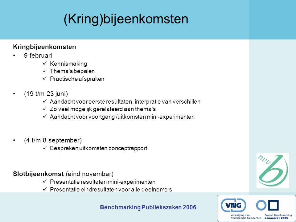 Benchmarking Publiekszaken 2006 (Kring)bijeenkomsten Kringbijeenkomsten 9 februari Kennismaking Thema's bepalen Practische afspraken (19 t/m 23 juni)