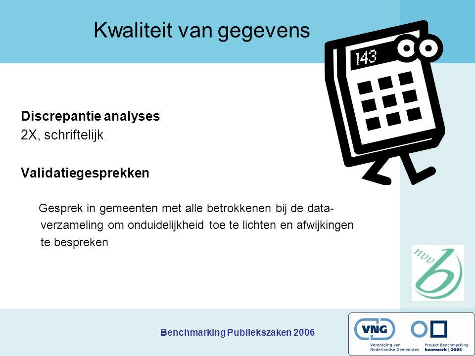 Benchmarking Publiekszaken 2006 Kwaliteit van gegevens Discrepantie analyses 2X, schriftelijk Validatiegesprekken Gesprek in gemeenten met alle betrok