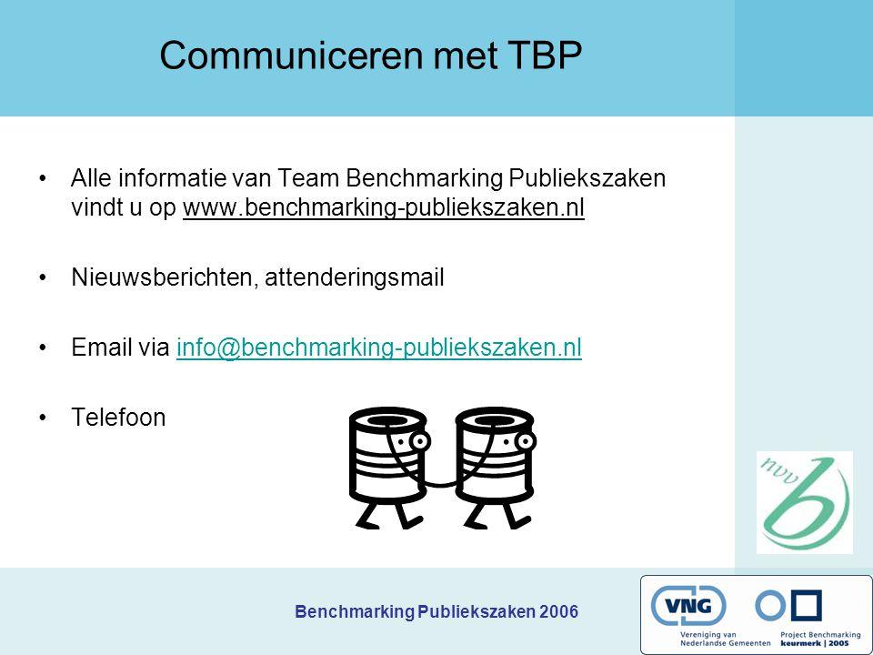 Benchmarking Publiekszaken 2006 Communiceren met TBP Alle informatie van Team Benchmarking Publiekszaken vindt u op www.benchmarking-publiekszaken.nl
