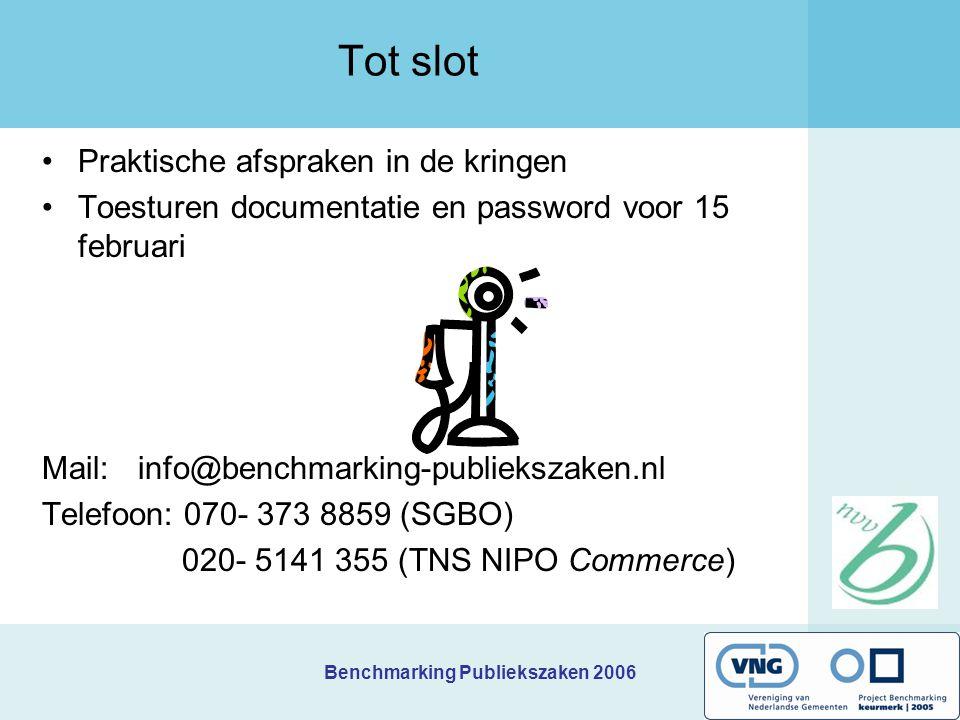 Benchmarking Publiekszaken 2006 Tot slot Praktische afspraken in de kringen Toesturen documentatie en password voor 15 februari Mail: info@benchmarkin