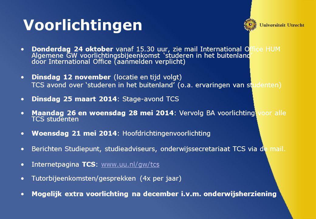 Voorlichtingen Donderdag 24 oktober vanaf 15.30 uur, zie mail International Office HUM Algemene GW voorlichtingsbijeenkomst 'studeren in het buitenlan