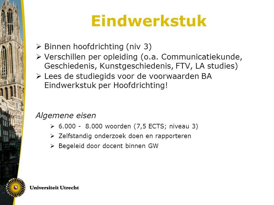 Eindwerkstuk  Binnen hoofdrichting (niv 3)  Verschillen per opleiding (o.a.