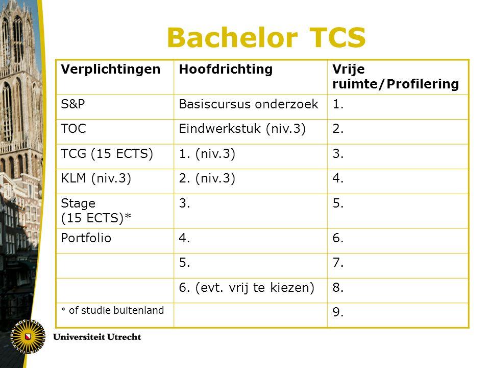 Portfolio en ICT Portfolio  Verplichte exameneis; zie info www.uu.nl/gw/tcs > studieprogramma > portfoliowww.uu.nl/gw/tcs  Voor studenten van voor 2010: - http://pf.let.uu.nl/http://pf.let.uu.nl/ - Studieplanning, Academische vaardigheden en Reflectie - Zet je werkstukken/presentaties op de Productenpagina -Geef je tutor, de HRA en SA toegang (via instellingen/beheer) -Eindbeoordeling HRA: meld je z.s.m.