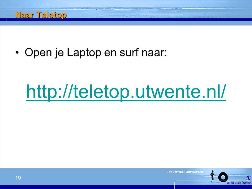 19 Naar Teletop Open je Laptop en surf naar: http://teletop.utwente.nl/