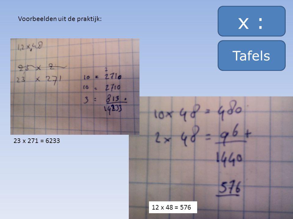 x : Tafels Voorbeelden uit de praktijk: 23 x 271 = 6233 12 x 48 = 576