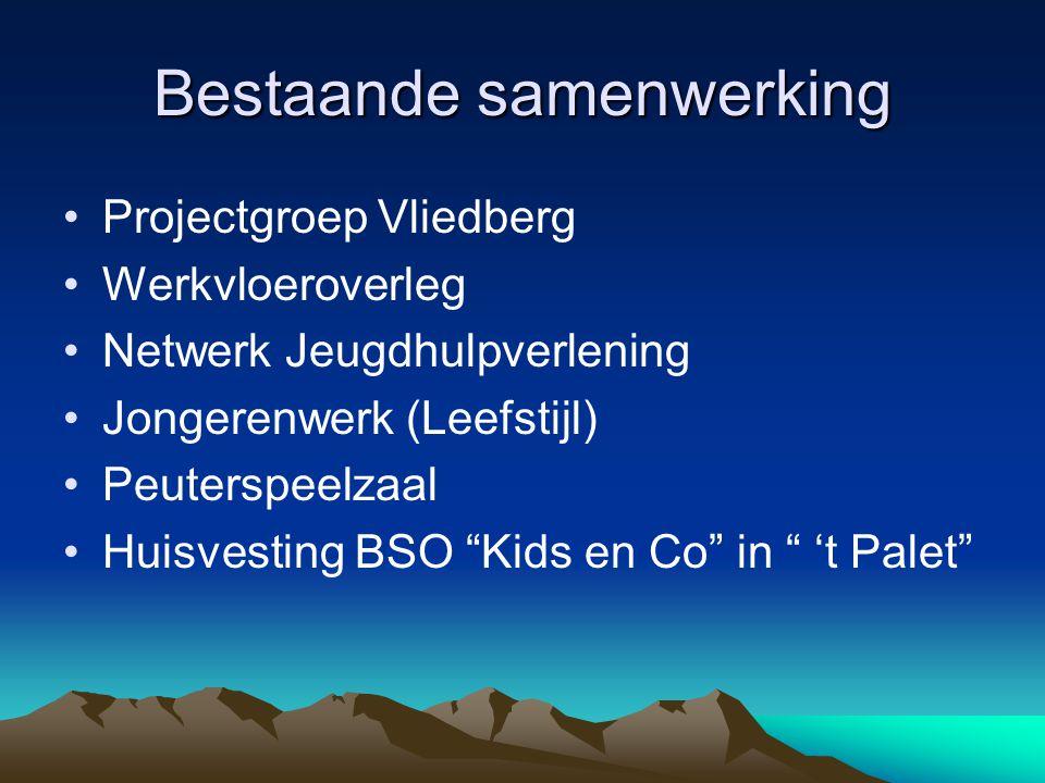 """Bestaande samenwerking Projectgroep Vliedberg Werkvloeroverleg Netwerk Jeugdhulpverlening Jongerenwerk (Leefstijl) Peuterspeelzaal Huisvesting BSO """"Ki"""