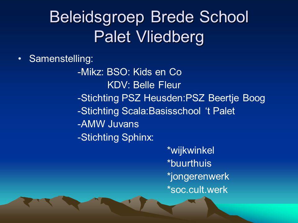 Beleidsgroep Brede School Palet Vliedberg Samenstelling: -Mikz: BSO: Kids en Co KDV: Belle Fleur -Stichting PSZ Heusden:PSZ Beertje Boog -Stichting Sc