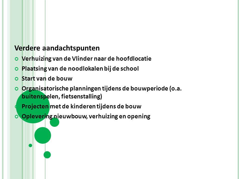 Verdere aandachtspunten Verhuizing van de Vlinder naar de hoofdlocatie Plaatsing van de noodlokalen bij de school Start van de bouw Organisatorische p