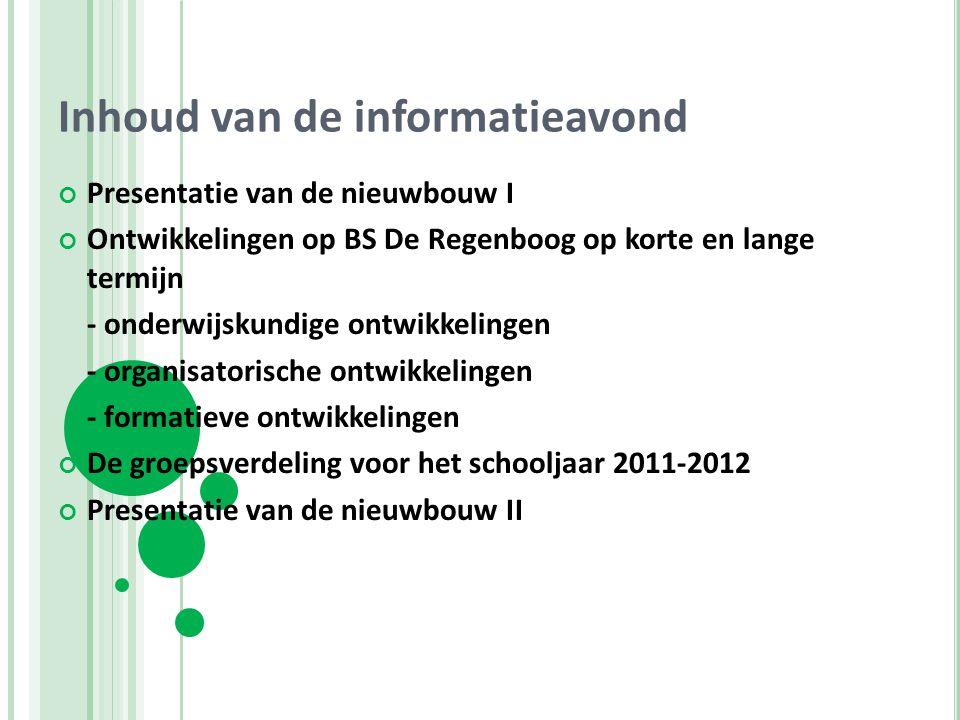 Inhoud van de informatieavond Presentatie van de nieuwbouw I Ontwikkelingen op BS De Regenboog op korte en lange termijn - onderwijskundige ontwikkeli