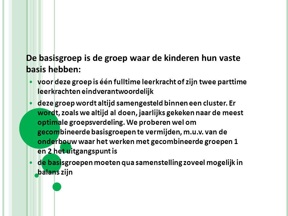 De basisgroep is de groep waar de kinderen hun vaste basis hebben: voor deze groep is één fulltime leerkracht of zijn twee parttime leerkrachten eindv