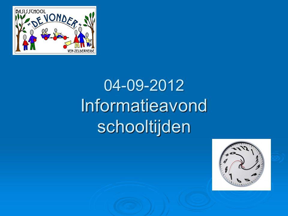 04-09-2012 Informatieavond schooltijden
