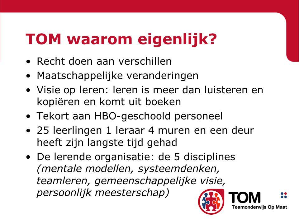 Ontstaan TOM Start van het project in 2001 als maatregel personeelstekorten: '1000 onderwijsassistenten' Kern: tegemoetkomen aan behoeftes van kinderen Antwoord op veranderingen in maatschappij