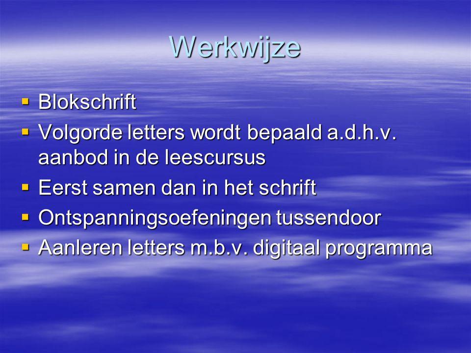 Werkwijze  Blokschrift  Volgorde letters wordt bepaald a.d.h.v. aanbod in de leescursus  Eerst samen dan in het schrift  Ontspanningsoefeningen tu