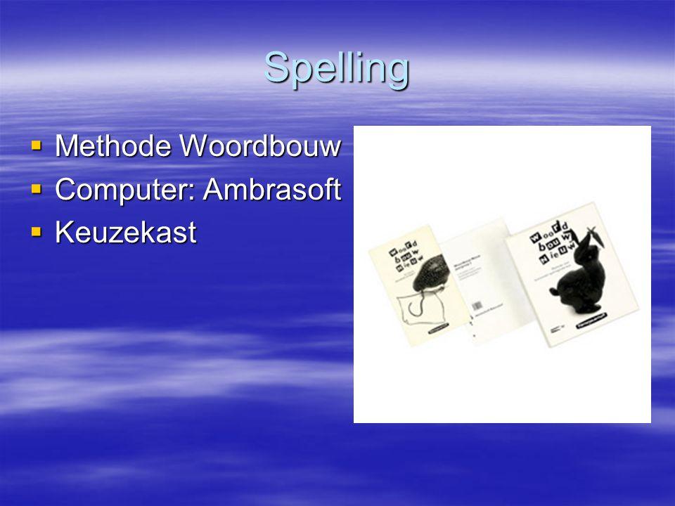 Spelling  Methode Woordbouw  Computer: Ambrasoft  Keuzekast