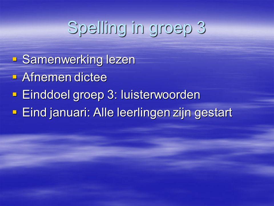 Spelling in groep 3  Samenwerking lezen  Afnemen dictee  Einddoel groep 3: luisterwoorden  Eind januari: Alle leerlingen zijn gestart