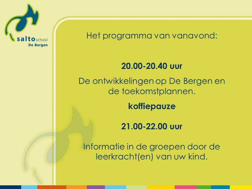 Het programma van vanavond: 20.00-20.40 uur De ontwikkelingen op De Bergen en de toekomstplannen. koffiepauze 21.00-22.00 uur Informatie in de groepen