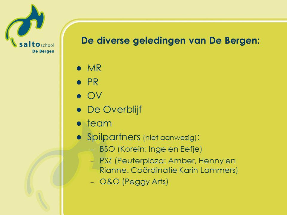 De diverse geledingen van De Bergen: MR PR OV De Overblijf team Spilpartners (niet aanwezig) : – BSO (Korein: Inge en Eefje) – PSZ (Peuterplaza: Amber