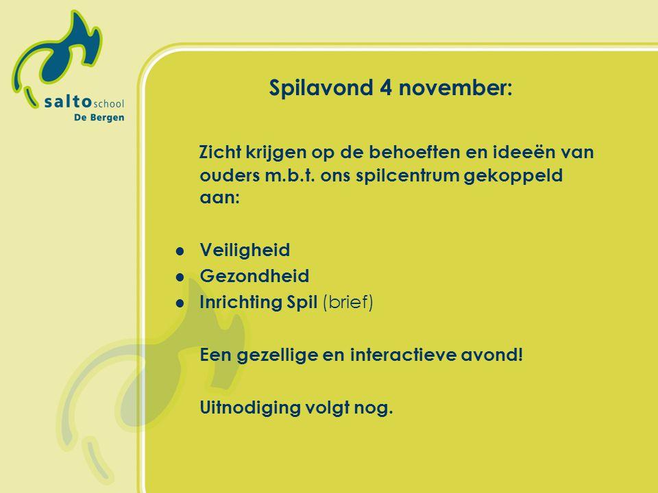 Spilavond 4 november: Zicht krijgen op de behoeften en ideeën van ouders m.b.t. ons spilcentrum gekoppeld aan: Veiligheid Gezondheid Inrichting Spil (