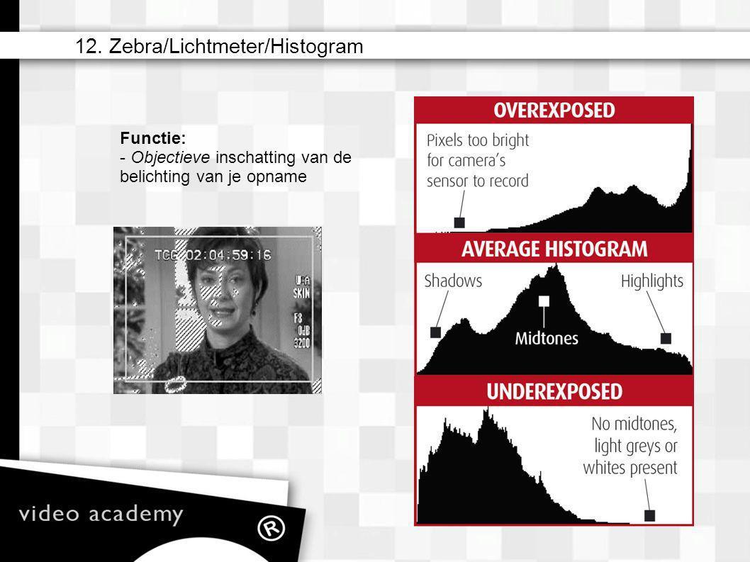 12. Zebra/Lichtmeter/Histogram Functie: - Objectieve inschatting van de belichting van je opname