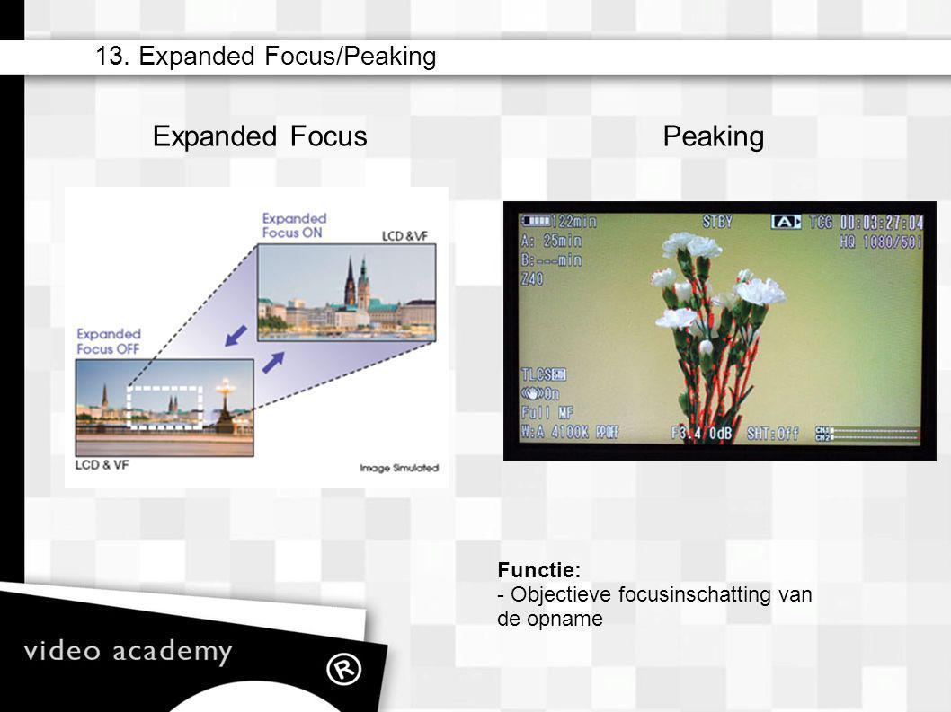 13. Expanded Focus/Peaking Functie: - Objectieve focusinschatting van de opname Expanded FocusPeaking